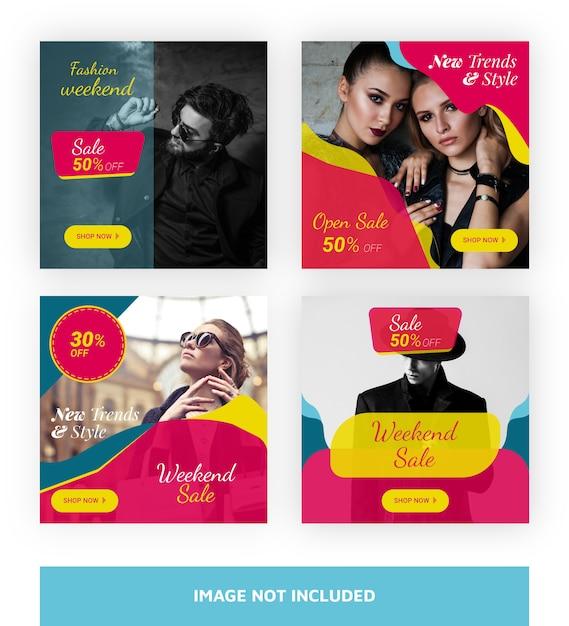 Modèle de bannière de vente super pour les médias sociaux Vecteur Premium