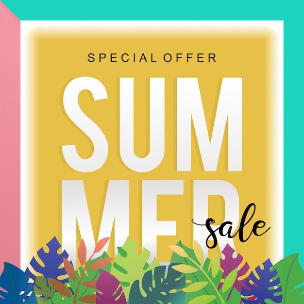 Modèle de bannière de vente tendance de l'été avec décoration florale Vecteur Premium