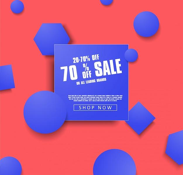 Modèle de bannière vente vector illustration avec des objets bleus sur fond corail. ventes Vecteur Premium