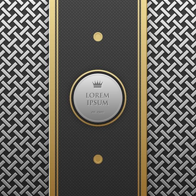 Modèle De Bannière Verticale Sur Fond Métallique Argent / Platine Avec Un Motif Géométrique Homogène. élégant Style De Luxe. Vecteur Premium