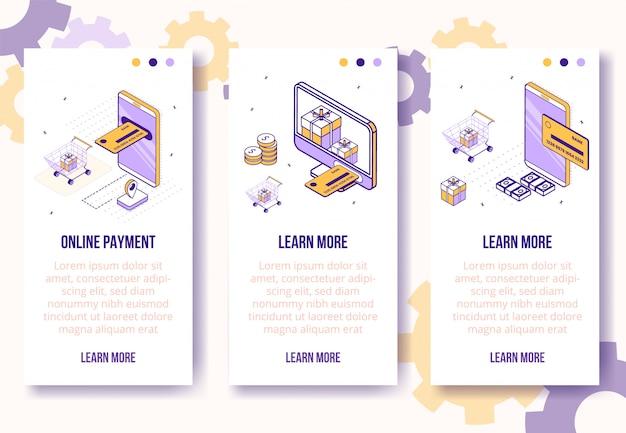 Modèle de bannière verticale. isométrique social icônes téléphone mobile, carte bancaire, argent, concept de paquets-web en ligne Vecteur Premium