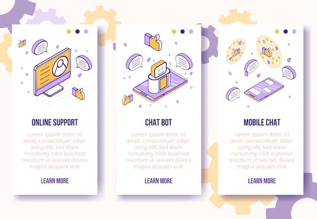Modèle de bannière verticale. isométrique social marketing icônes téléphone mobile, ordinateur portable, coeur, pouce en haut, concept en ligne de messages-web Vecteur Premium