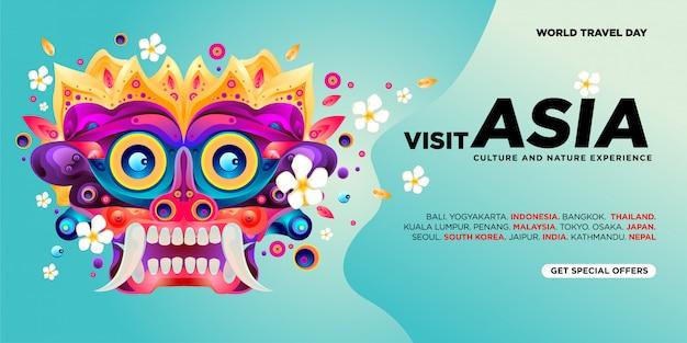 Modèle de bannière de visite asiatique pour la journée mondiale du voyage Vecteur Premium