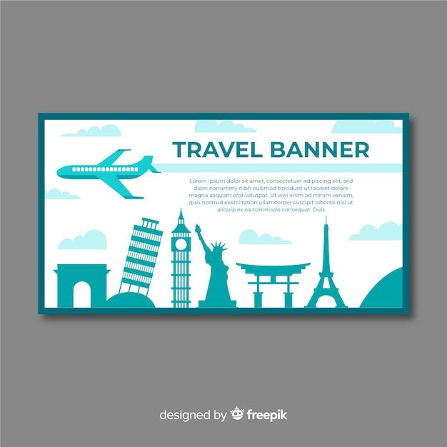 Modèle de bannière de voyage design plat Vecteur gratuit