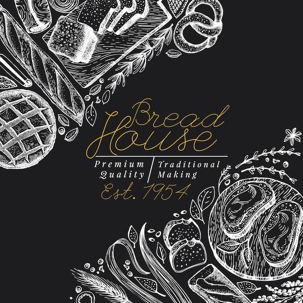 Modèle de bannière vue de dessus de boulangerie. main dessinée illustration vectorielle avec du pain et des pâtisseries à bord de la craie. modèle de conception vintage. peut être utilisé pour le menu, l'emballage. Vecteur Premium
