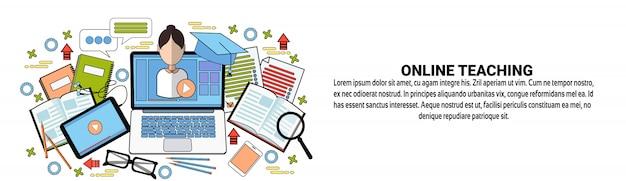 Modèle de bannière web d'enseignement en ligne concept d'éducation elearning Vecteur Premium