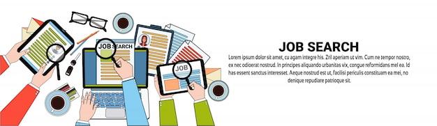 Modèle de bannière web pour poste vacant hr search web business concept candidat concept Vecteur Premium