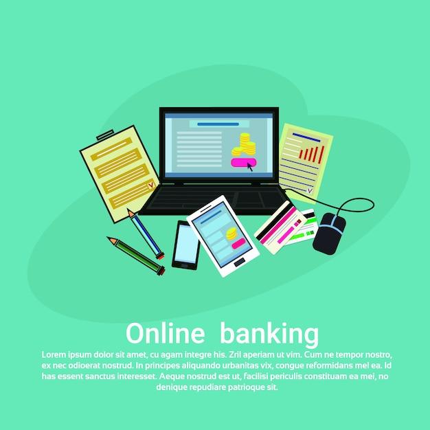 Modèle de bannière web pour les services bancaires en ligne avec espace de copie Vecteur Premium