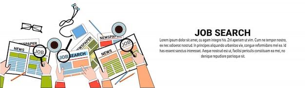 Modèle de bannière web de recherche d'emploi business vacancy position concept Vecteur Premium