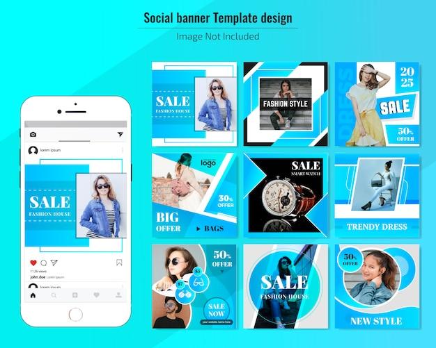 Modèle de bannière web vente médias sociaux Vecteur Premium