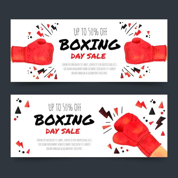 Modèle de bannières aquarelle boxe jour vente Vecteur gratuit