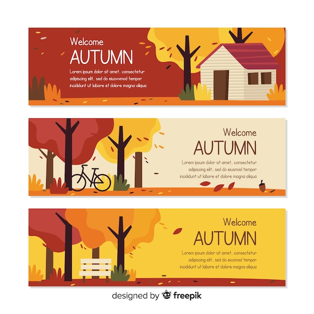 Modèle de bannières automne plat avec des feuilles Vecteur gratuit