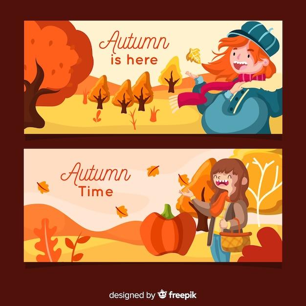Modèle de bannières automne plat avec les filles Vecteur gratuit