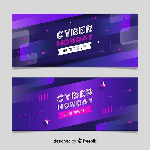 Modèle de bannières cyber design lundi design plat Vecteur gratuit