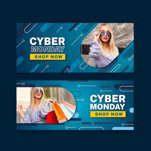 Modèle De Bannières Design Plat Cyber Lundi Vecteur gratuit