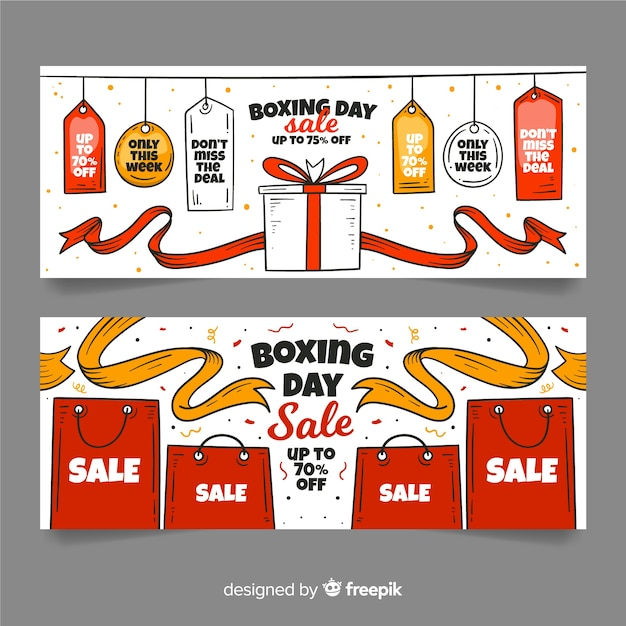 Modèle de bannières dessiné main boxing day sale Vecteur gratuit