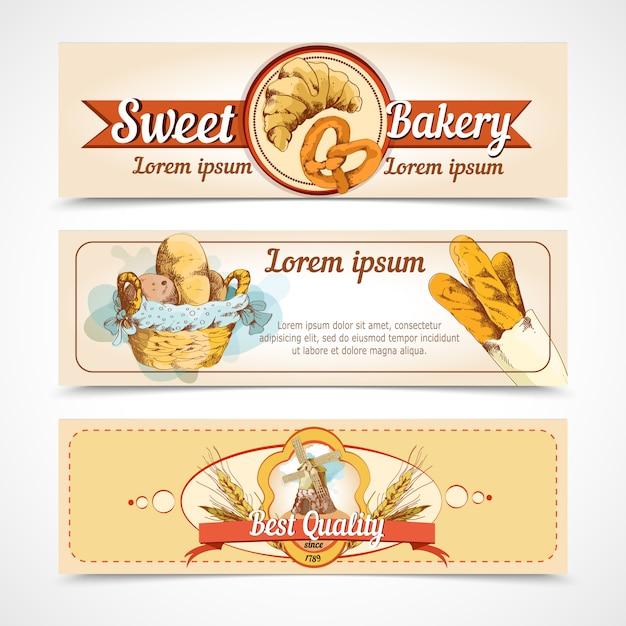 Modèle de bannières dessinées à la main de boulangerie Vecteur gratuit