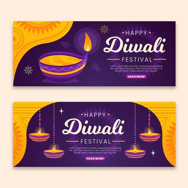 Modèle De Bannières Diwali Avec Bougies Vecteur gratuit