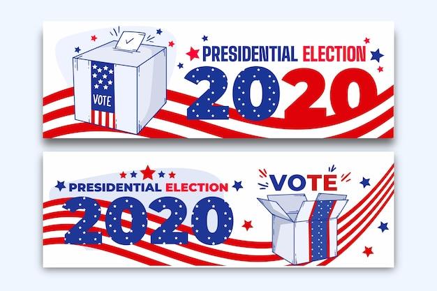 Modèle De Bannières De L'élection Présidentielle Américaine 2020 Vecteur gratuit