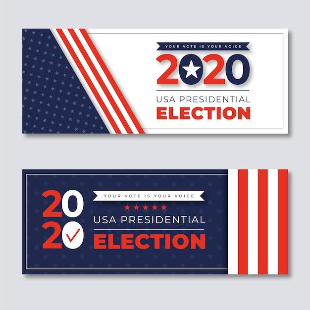 Modèle De Bannières De L'élection Présidentielle Américaine 2020 Vecteur Premium