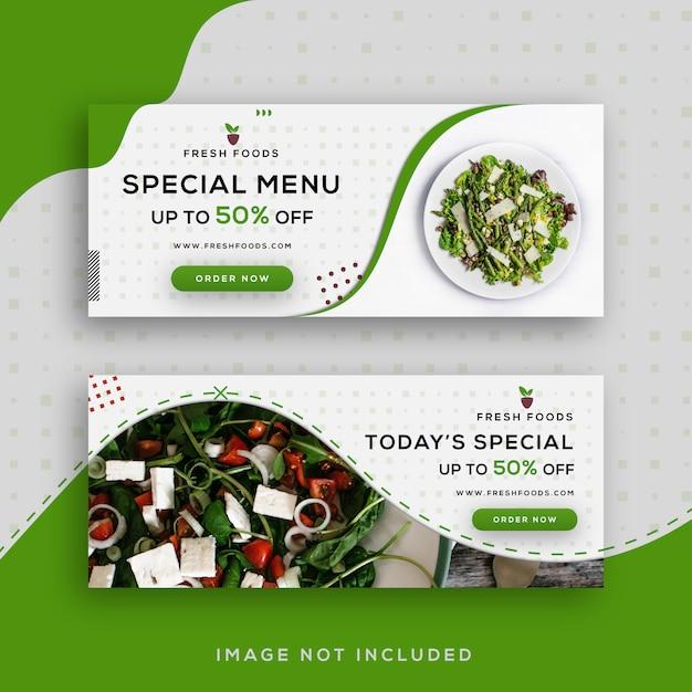 Modèle De Bannières Facebook De Vente De Nourriture Vecteur Premium