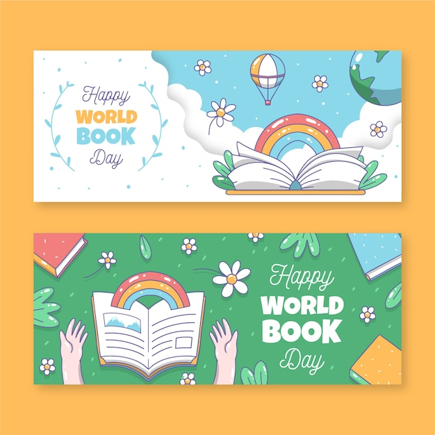 Modèle De Bannières Avec La Journée Mondiale Du Livre Vecteur Premium