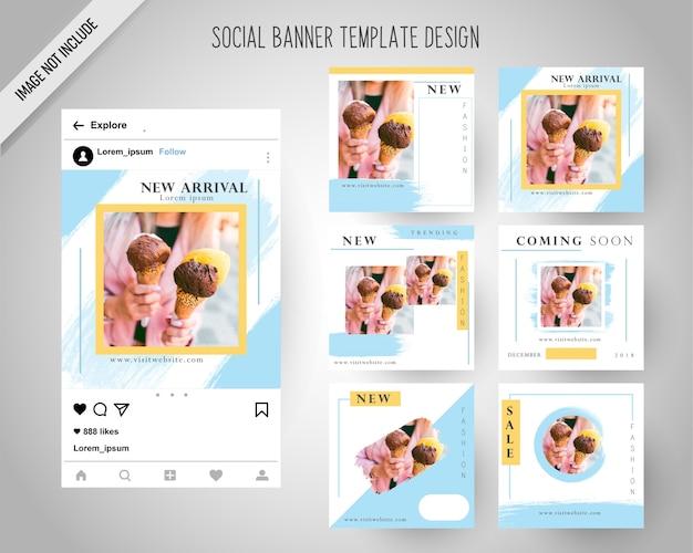 Modèle de bannières de médias sociaux avec style de pinceau Vecteur Premium