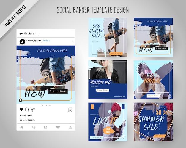 Modèle de bannières de médias sociaux avec style pinceau Vecteur Premium