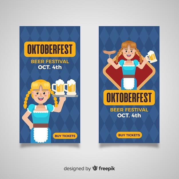Modèle de bannières oktoberfest design plat Vecteur gratuit