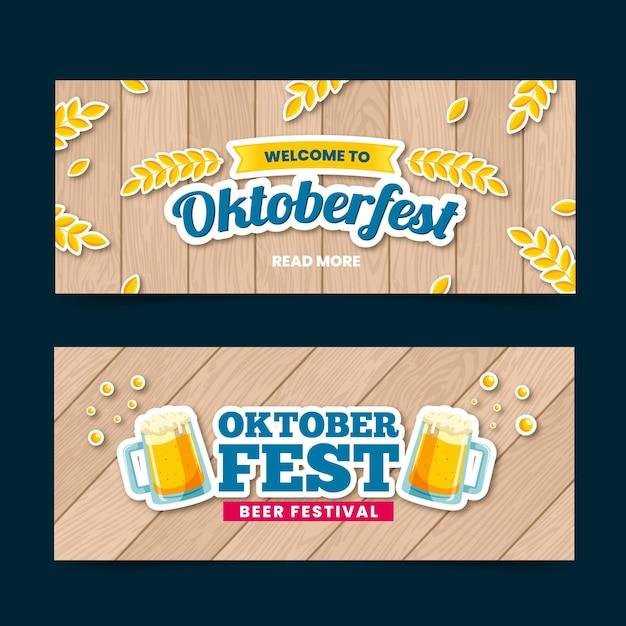 Modèle De Bannières Oktoberfest Design Plat Vecteur Premium