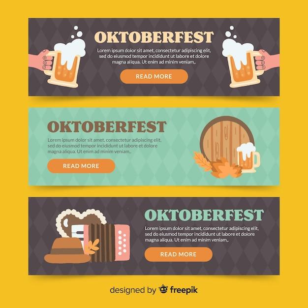 Modèle de bannières oktoberfest dessinés à la main Vecteur gratuit