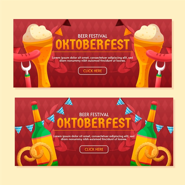 Modèle De Bannières Oktoberfest Vecteur gratuit