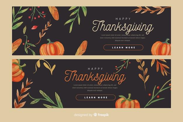 Modèle de bannières pour le thanksgiving design plat Vecteur gratuit