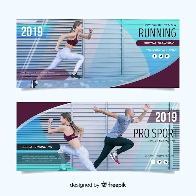 Modèle de bannières de sport avec photo Vecteur gratuit