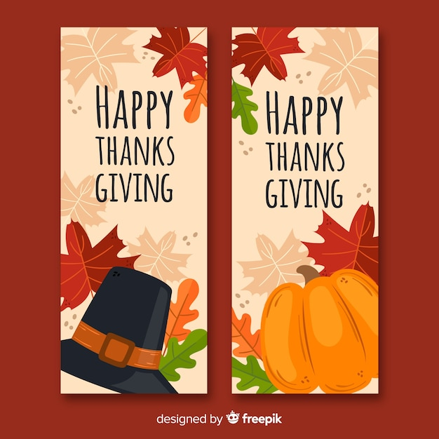 Modèle De Bannières De Thanksgiving Dessiné à La Main Vecteur gratuit
