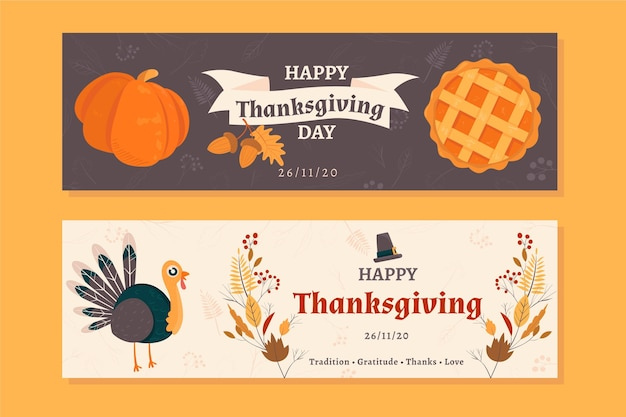 Modèle De Bannières De Thanksgiving Dessinés à La Main Vecteur gratuit
