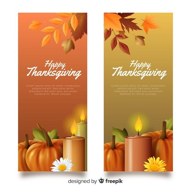 Modèle De Bannières De Thanksgiving Réaliste Vecteur gratuit