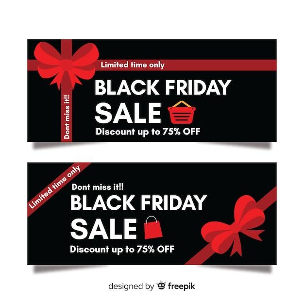 Modèle de bannières vendredi design plat noir Vecteur gratuit