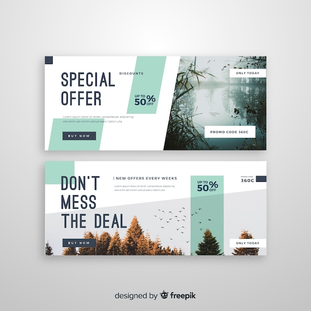 Modèle de bannières de vente abstraite avec photo Vecteur gratuit