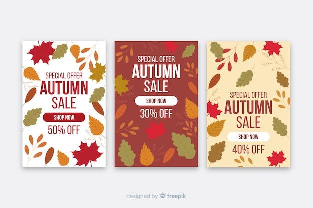 Modèle de bannières de vente automne design plat Vecteur gratuit