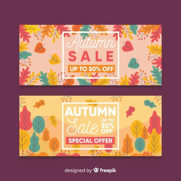 Modèle de bannières de vente automne plat Vecteur gratuit