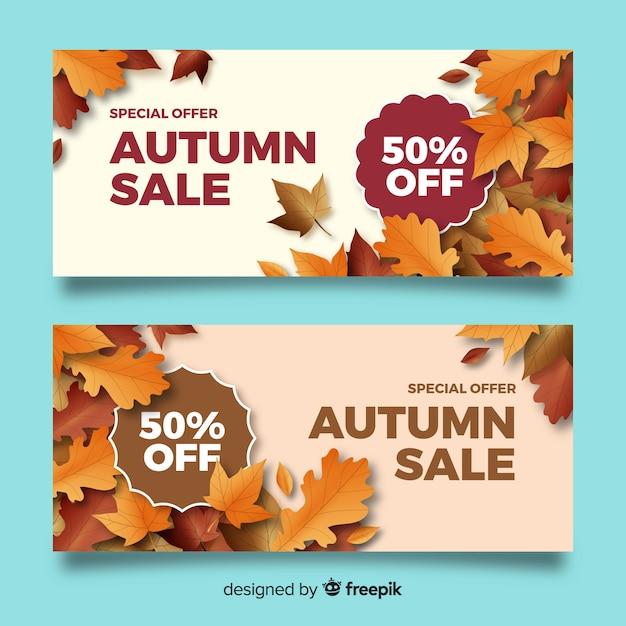 Modèle de bannières de vente automne réaliste Vecteur gratuit