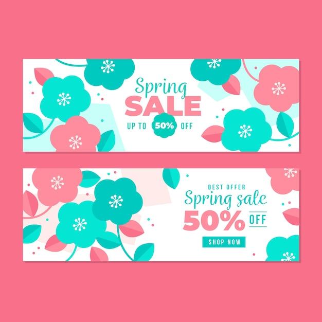 Modèle De Bannières De Vente Design Plat Printemps Fleurs Roses Et Bleues Vecteur gratuit