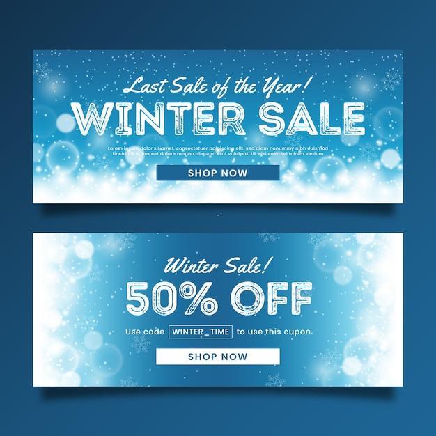 Modèle de bannières de vente hiver floue Vecteur gratuit