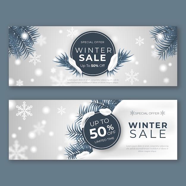 Modèle de bannières de vente hiver réaliste Vecteur gratuit