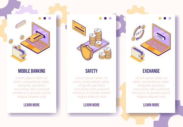 Modèle de bannières verticales. entreprise isométrique financière icônes-téléphone mobile, ordinateur portable, carte bancaire, portefeuille, concept en ligne de pièces-web Vecteur Premium