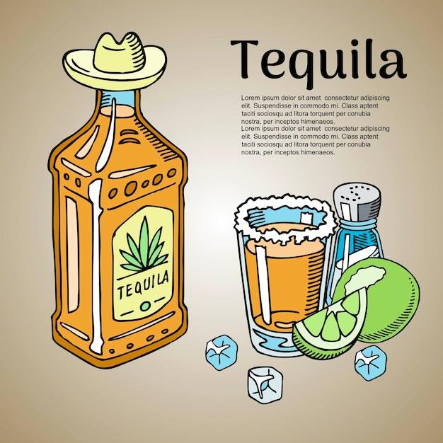 Modèle de barre de tequila Vecteur Premium