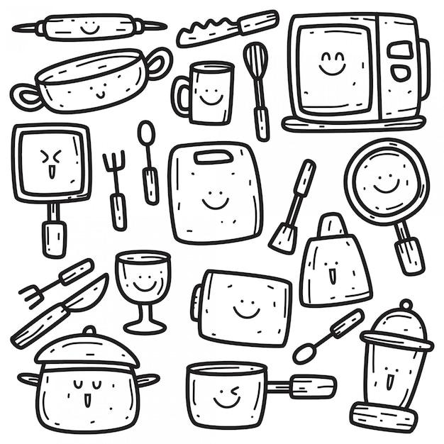 Modèle De Batterie De Cuisine Kawaii Doodle Vecteur Premium
