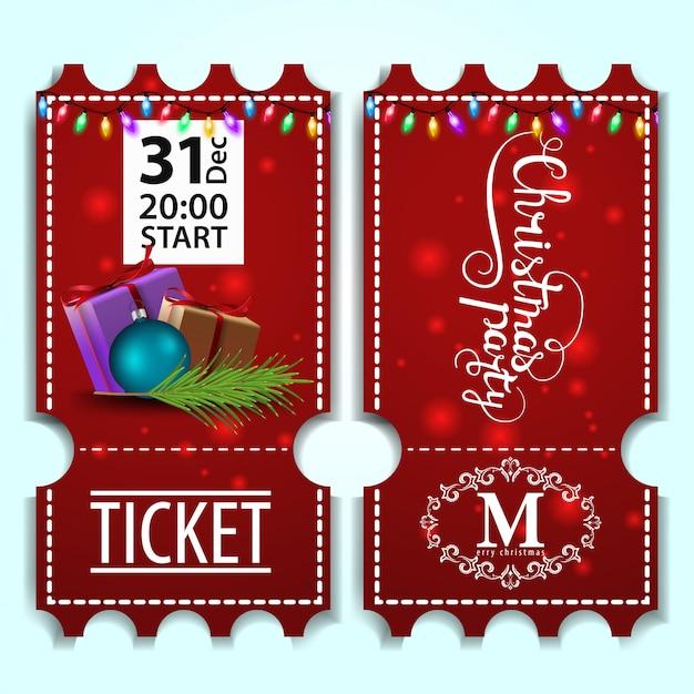 Modèle de billet de fête de noël avec des cadeaux Vecteur Premium