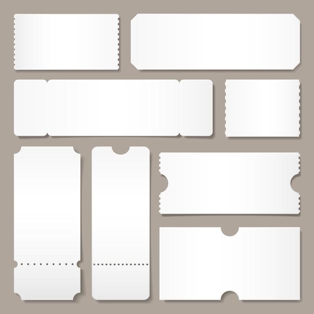 Modèle de billet vierge. les billets de concert du festival, la mise en page des cartes de papier blanc et le cinéma admettent une maquette isolée Vecteur Premium